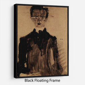 Self-Portrait in a black robe by Egon Schiele Floating Frame Canvas - Canvas Art Rocks - 1