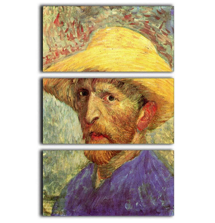 Self-Portrait with Straw Hat 3 by Van Gogh 3 Split Panel Canvas Print