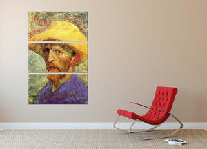 Self-Portrait with Straw Hat 3 by Van Gogh 3 Split Panel Canvas Print - Canvas Art Rocks - 2
