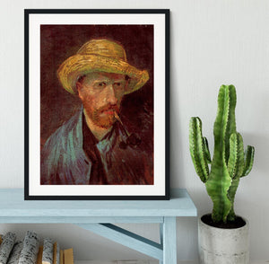 Self-Portrait with Straw Hat and Pipe by Van Gogh Framed Print - Canvas Art Rocks - 1