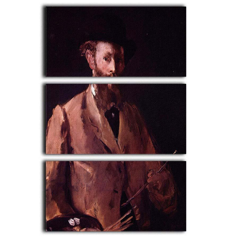 Self Portrait with Pallette by Manet 3 Split Panel Canvas Print - Canvas Art Rocks - 1