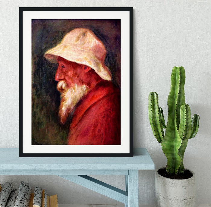 Selfportrait with white hat by Renoir Framed Print