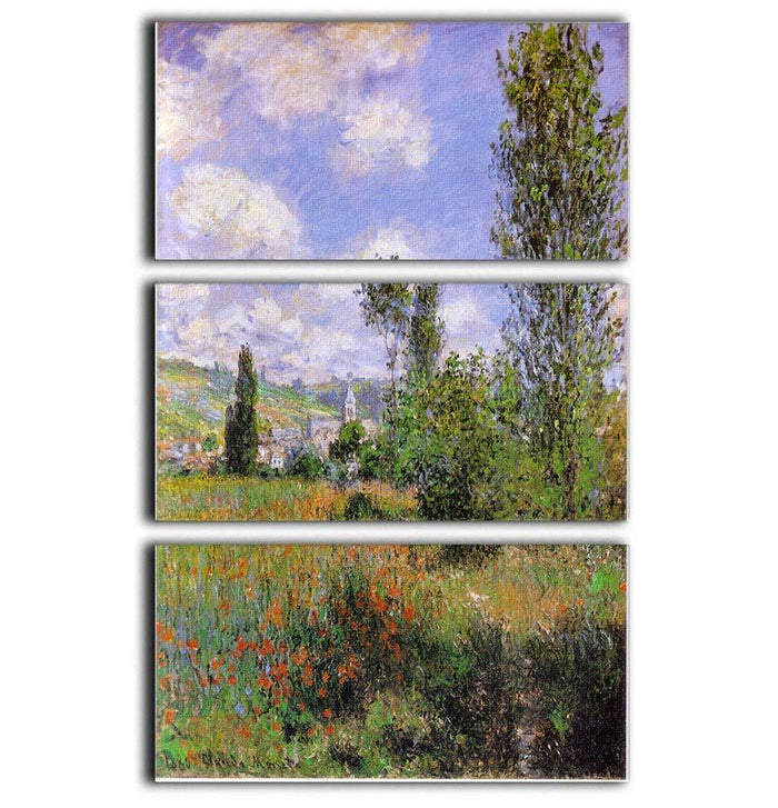 Sentier ile Saint Martin 1880 by Monet 3 Split Panel Canvas Print