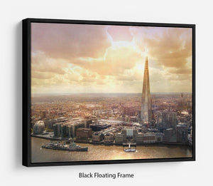 Shard of Glass at sunset Floating Frame Canvas