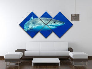 Shark swimming looking for food 4 Square Multi Panel Canvas  - Canvas Art Rocks - 3