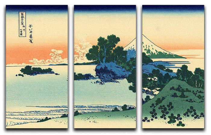 Shichiri beach in Sagami province by Hokusai 3 Split Panel Canvas Print