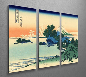 Shichiri beach in Sagami province by Hokusai 3 Split Panel Canvas Print - Canvas Art Rocks - 2