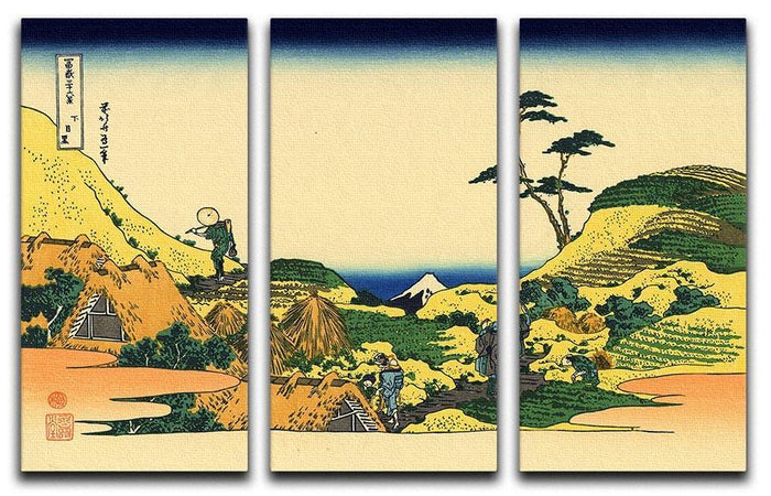 Shimomeguro by Hokusai 3 Split Panel Canvas Print