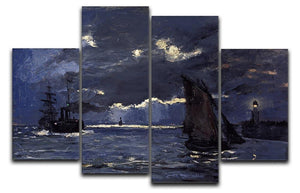 Shipping by Moonlight by Monet 4 Split Panel Canvas  - Canvas Art Rocks - 1