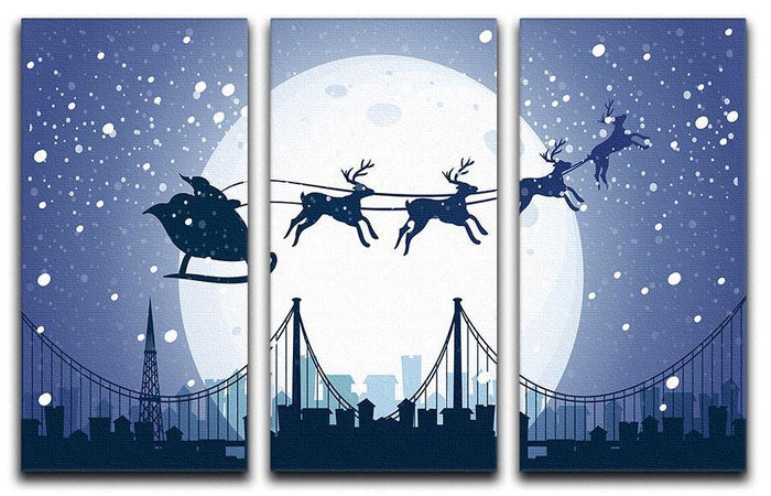 Silhouette Santa In The Night Sky 3 Split Panel Canvas Print