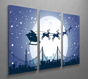 Silhouette Santa In The Night Sky 3 Split Panel Canvas Print - Canvas Art Rocks - 2