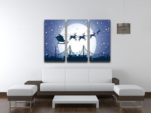 Silhouette Santa In The Night Sky 3 Split Panel Canvas Print - Canvas Art Rocks - 3