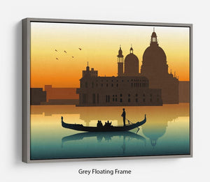 Silhouette illustration gondola in Venice Floating Frame Canvas