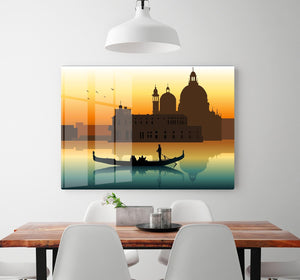 Silhouette illustration gondola in Venice HD Metal Print
