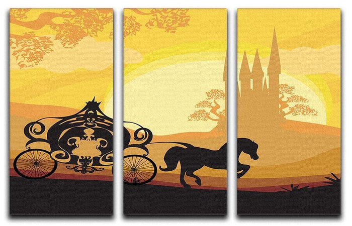 Silhouette of a horse carriage 3 Split Panel Canvas Print