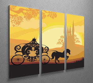 Silhouette of a horse carriage 3 Split Panel Canvas Print - Canvas Art Rocks - 2