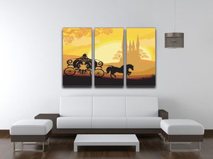 Silhouette of a horse carriage 3 Split Panel Canvas Print - Canvas Art Rocks - 3