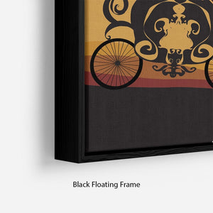 Silhouette of a horse carriage Floating Frame Canvas