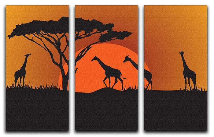 Silhouettes of giraffes in safari sunset 3 Split Panel Canvas Print