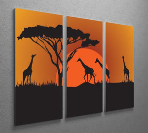Silhouettes of giraffes in safari sunset 3 Split Panel Canvas Print - Canvas Art Rocks - 2
