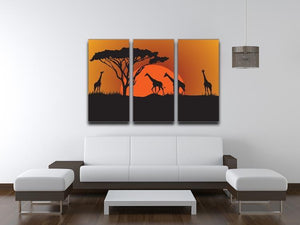 Silhouettes of giraffes in safari sunset 3 Split Panel Canvas Print - Canvas Art Rocks - 3