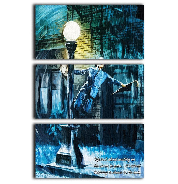 Singing In The Rain Life Isnt About Waiting 3 Split Panel Canvas Print