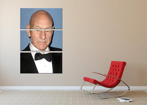Sir Patrick Stewart 3 Split Panel Canvas Print - Canvas Art Rocks - 2