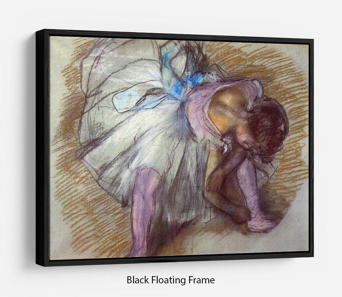 Sitting dancer lacing her slipper by Degas Floating Frame Canvas