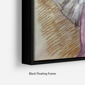 Sitting dancer lacing her slipper by Degas Floating Frame Canvas - Canvas Art Rocks - 2