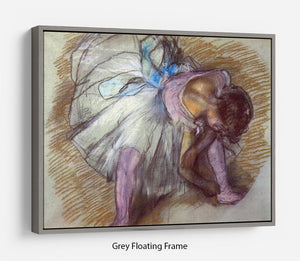 Sitting dancer lacing her slipper by Degas Floating Frame Canvas - Canvas Art Rocks - 3
