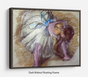 Sitting dancer lacing her slipper by Degas Floating Frame Canvas - Canvas Art Rocks - 5