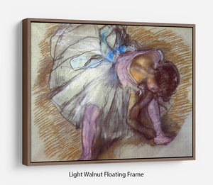 Sitting dancer lacing her slipper by Degas Floating Frame Canvas - Canvas Art Rocks 7