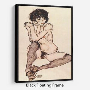 Sitting female nude by Egon Schiele Floating Frame Canvas - Canvas Art Rocks - 1
