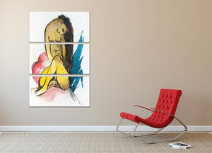 Sitting yellow lady by Franz Marc 3 Split Panel Canvas Print - Canvas Art Rocks - 2
