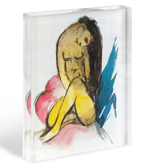 Sitting yellow lady by Franz Marc Acrylic Block - Canvas Art Rocks - 1