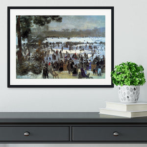 Skating runners in the Bois de Bologne by Renoir Framed Print - Canvas Art Rocks - 1