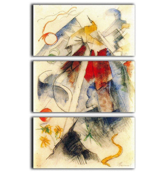 Sketch of the Brenner road 1 by Franz Marc 3 Split Panel Canvas Print