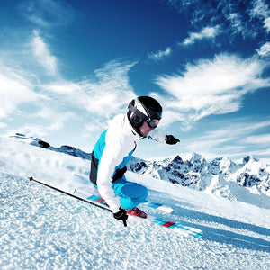 Skier in mountains Wall Mural Wallpaper - Canvas Art Rocks - 1