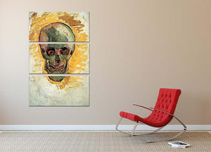 Skull by Van Gogh 3 Split Panel Canvas Print - Canvas Art Rocks - 2