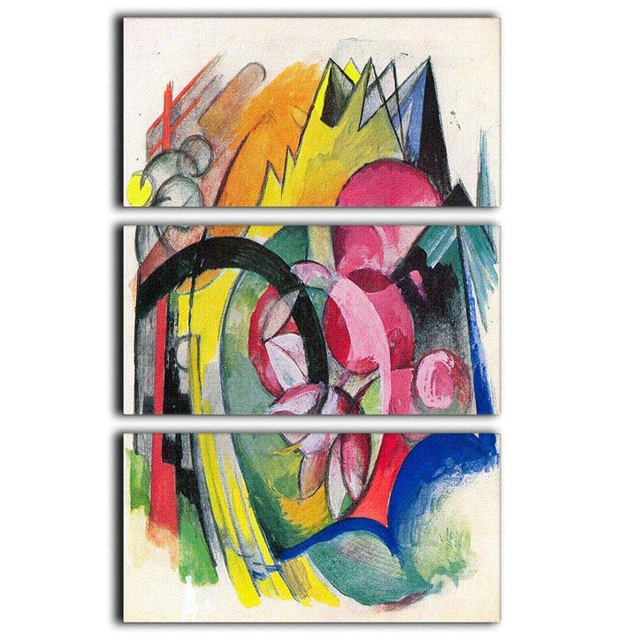 Small composition II by Franz Marc 3 Split Panel Canvas Print