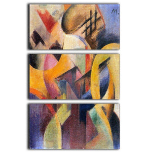 Small composition I by Franz Marc 3 Split Panel Canvas Print - Canvas Art Rocks - 1