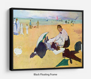 Small girls on the beach by Degas Floating Frame Canvas - Canvas Art Rocks - 1