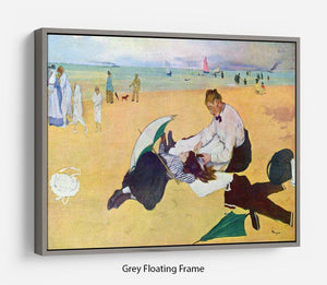 Small girls on the beach by Degas Floating Frame Canvas - Canvas Art Rocks - 3