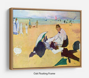 Small girls on the beach by Degas Floating Frame Canvas - Canvas Art Rocks - 9