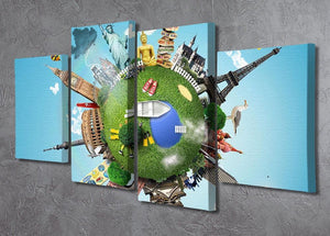 Small planet with landmarks around the world 4 Split Panel Canvas - Canvas Art Rocks - 2