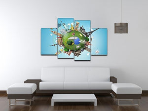 Small planet with landmarks around the world 4 Split Panel Canvas - Canvas Art Rocks - 3