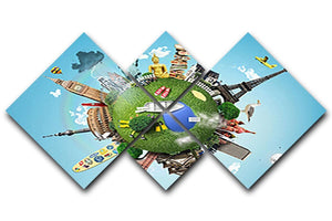 Small planet with landmarks around the world 4 Square Multi Panel Canvas  - Canvas Art Rocks - 1