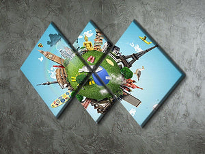 Small planet with landmarks around the world 4 Square Multi Panel Canvas - Canvas Art Rocks - 2