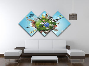 Small planet with landmarks around the world 4 Square Multi Panel Canvas - Canvas Art Rocks - 3