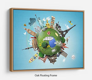 Small planet with landmarks around the world Floating Frame Canvas